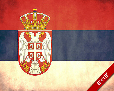 Modern Flag Of Serbia Nation Painting 8x10 Real Canvas Giclee Art Print 2 waterm