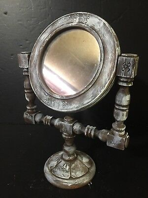 VTG FOLK ART Tilting Vanity Shaving Pedestal Mirror Stand Mexican Painted carved