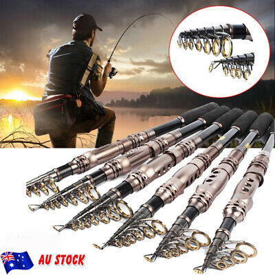 Hard Carbon Portable Telescopic Fishing Rod Spinning Saltwater Travel Pole AU