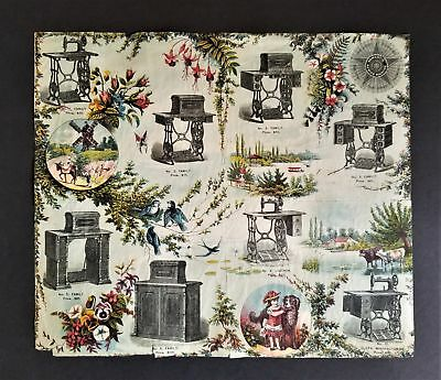 c1877 antique DOMESTIC SEWING MACHINE AD CATALOG foldout pages prices