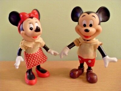 ***vintage Mickey And Minnie Mouse Rubber Dolls Figurines Disney***
