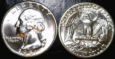 1951d CH BU Washington Quarter BLAZING LUSTROUS Silver Coin 1951 d  NO RESERVE