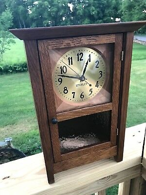 New Release Signed Stickley Oak Arts & Crafts Mission Style Mantel Clock 89-098