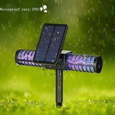 Waterproof LED Solar Power Mosquito Killer lamp Fly Bug Zapper Insect Trap