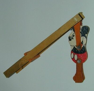 Mickey Mouse Wood Mechanical Acrobat Squeeze Toy Marks Bros. 1930s Disneyana