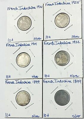 Lot Of 6 French Indochina 10 Cent Coins 1899-1925 Silver