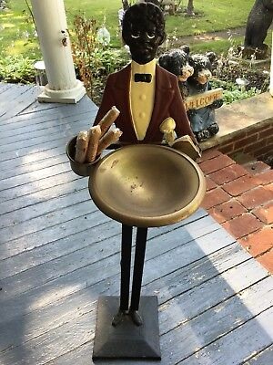 Black Americana Butler Cast Iron Smoking Stand Tobacco Ashtray Stand