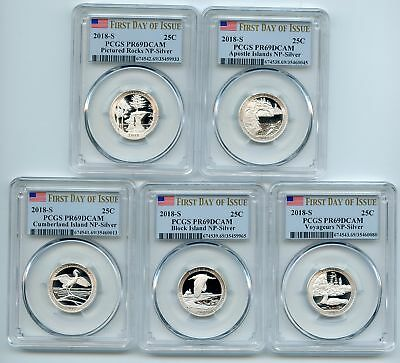2018 S Silver National Parks Quarter Set PCGS PR69DCAM First Day of Issue FDOI