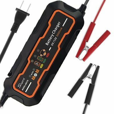 6V/12V 5A Smart Car Battery Charger and maintainer&Desulfator Waterproof 5000mA