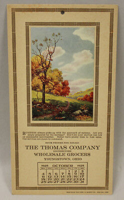 October 1925 Calendar, The Thomas Grocers, Youngstown, Ohio
