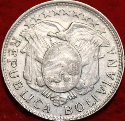 1900 PTS Bolivia 50 Centavos Silver Foreign Coin
