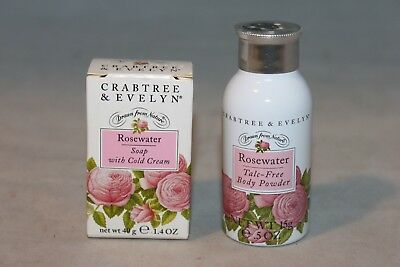 Vintage 1995 Crabtree & Evelyn ROSEWATER Talc-Free Body Powder & Soap