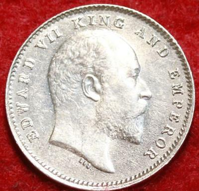 Uncirculated 1903(C) India Silver 2 Annas Foreign Coin