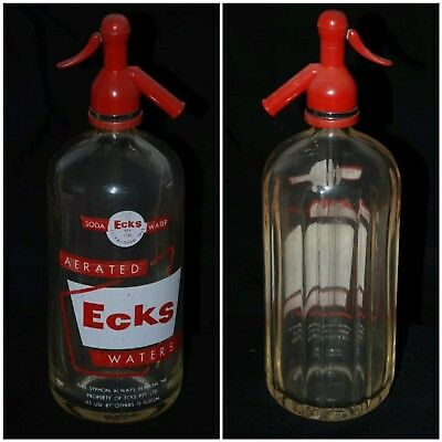 VTG Ecks Waters Large Seltzer Bottle ACL Clear Red White Plastic Top Ribbed