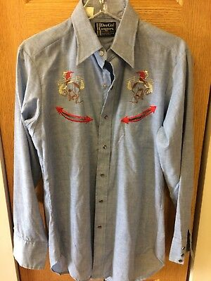Vintage Dee Cee Western Pearl Snap Shirt Embroidered, Smile Pockets! 15-M-15 1/2