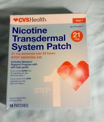 CVS Health Nicotine Transdermal System Patch, 14 Patches, 21 MG, Step 1, 08/2019