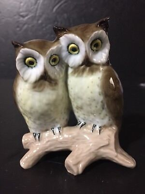 Rare Signed Georg Jensen Porcelain Pair of Owl Figurine from Portugal 4.25""