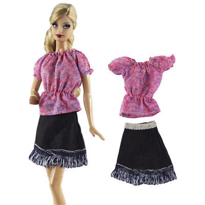 2Pcs/Set Handmade Doll Dress Suit for Barbie 1/6 Doll Party Daily Clothing%