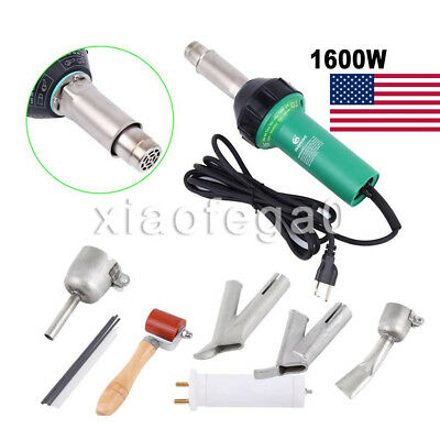 1600W Hot Air Plastic Welding Gun Welder Pistol +Speed Nozzle +Roller Set In USA
