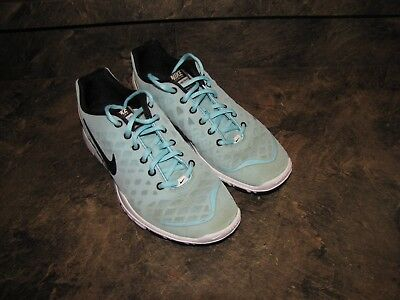4e9187c717ac NIKE FREE TR FIT CYAN BLACK WHITE WOMENS 9.5 NICE USED CLEAN see pics- details
