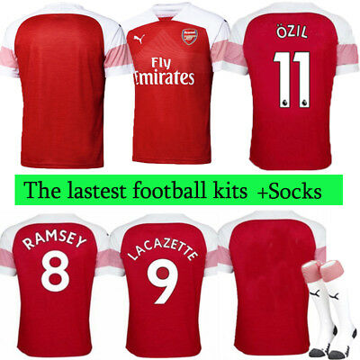 18/19 Football Home Kit for 3-14 Yrs Kids Adults Soccer Short Sleeve Suit+socks