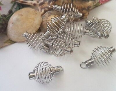 19Mm Silver Colour Round Spiral Wire Bead Cages, With Loop, Pendants Necklace