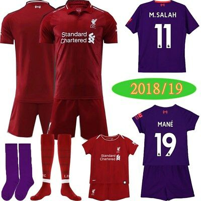 3-14Y Kids Kit Football Soccer M.SALAH Short Sleeve Team Suit+Socks 18/19 Season