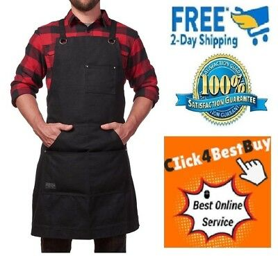Hudson Durable Goods Heavy Duty Waxed Canvas Work Apron with Tool Pockets Black