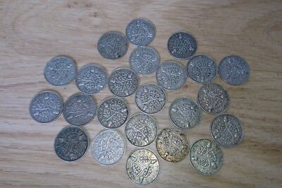 Lot of 23 Pre 1947 silver coins. All 1933 threepence collection or scrap 18g