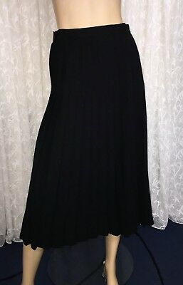 Sportscraft Size 10 Black Vintage Pleated Pure Wool Midi Skirt