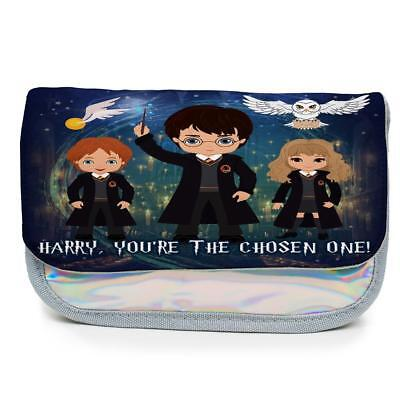 Personalised Pencil Case HARRY POTTER Magic Holographic Shiny Silver Girls KS159