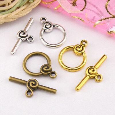 3Sets Tibetan Silver,Antiqued Gold,Bronze Circle Connectors Toggle Clasps M1418