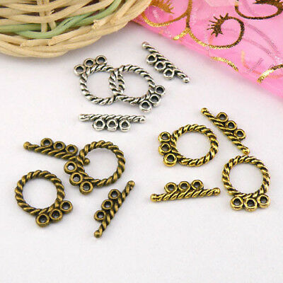 6Sets Tibetan Silver,Antiqued Gold,Bronze 3-Holes Connector Toggle Clasps M1411