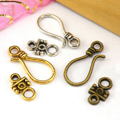5Sets Tibetan Silver,Antiqued Gold,Bronze Hook Connector Toggle Clasps M1390