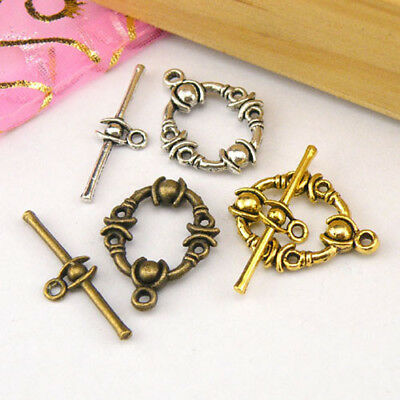 4Sets Tibetan Silver,Antiqued Gold,Bronze Circle Connector Toggle Clasps M1389