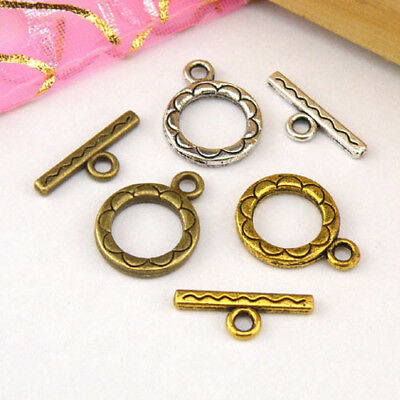 8Sets Tibetan Silver,Antiqued Gold,Bronze Circle Connector Toggle Clasps M1387