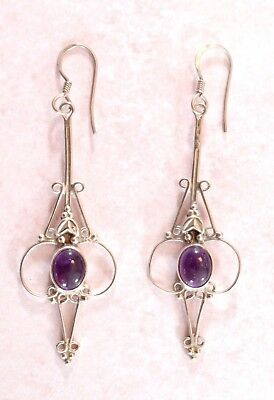 Vintage or Vtg style Art Nouveau style large sterling silver & amethyst earrings