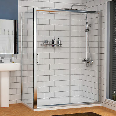 Sliding Shower Enclosure and Tray Cubicle Door Side Panel Stone Tray Walk In 6mm