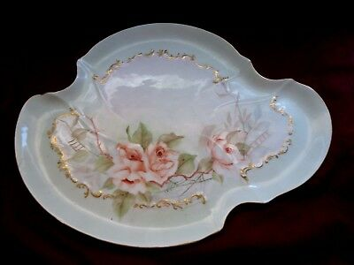 Antique French Porcelain Dresser Tray ~ Hand Painted Roses w/ Relief  Gold Trim