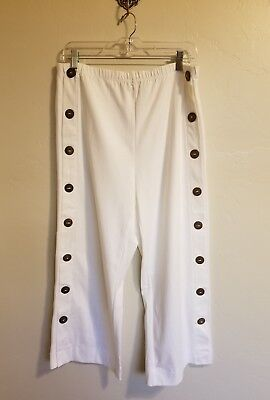 Soft Surroundings Pants Medium White Buttons Stretch Waist Pull On Cotton Casual