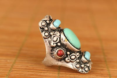 chinese old Turquoise Inlay Tibet Silver BIG Tibt Statue Ring