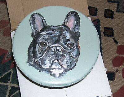 French Bulldog Original Handpainted Wooden Footstool