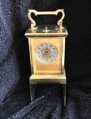 Lovely Quality Repeater Carridge Clock, In Gilt Brass, With Key.