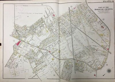 1909 QUEENS NY WOODSIDE ARNOLDS PARK P.S 11 ATLAS MAP