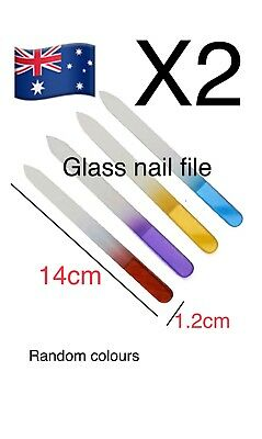 2x Crystal Glass Nail 14cm 2 Way Files Polishing Tool Manicuring Manicure Care'