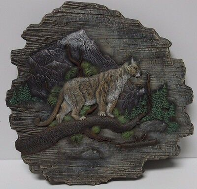 "13"" Vtg 1980s MOUNTAIN LION MOUNTAINS WILDLIFE HAND PAINTED CERAMIC WALL HANGING"
