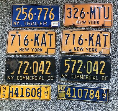Vintage NY New York  License plate tags lot of 8 1970's 1960's
