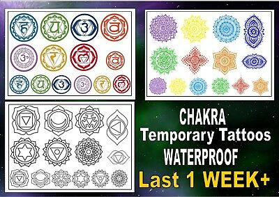 CHAKRA seven SYMBOLS Temporary Tattoos  WATERPROOF last 1WEEK+