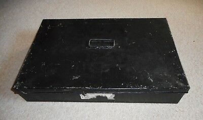 Vintage tin deed box painted black