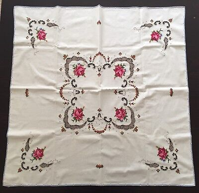 Vintage ~ Cut Work & Embroidery ~ Cotton Tablecloth